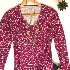 Ann Taylor Tops - Ann Taylor Pink Patterned Long Sleeve V-neck